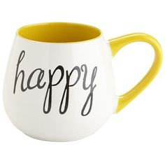 Say hello to fat and happy. Once filled with coffee, tea or cocoa, this cheerful (and rotund) dolomite mug is brimming with feel-good energy.