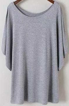 Grey Batwing Short Sleeve Loose Modal T-Shirt 11.83