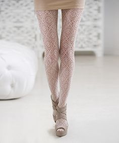 Take a look at this Ivory Medallion Crochet Tights by CAPEZIONEWYORK on #zulily today!