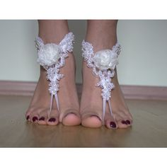 White Lace Barefoot Sandals, NudeShoes, Foot Jewelry,Beach Wedding... ($25) via Polyvore featuring shoes ve sandals