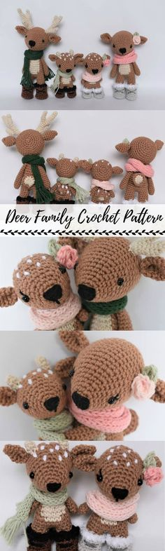 Deer Family Crochet Pattern / Photo Tutorial #etsy #crochet #pattern #ad #pdf Christmas gift