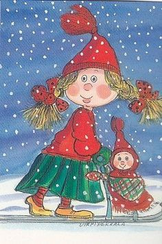 Postcrossing postcard from Finland Childrens Christmas, Whimsical Christmas, Christmas Gnome, Vintage Christmas Cards, Christmas Art, Vintage Cards, Winter Illustration, Christmas Illustration, Cute Illustration