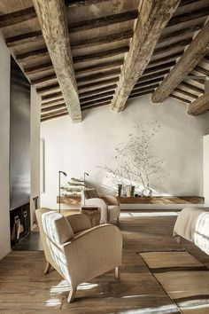 Crumbling buildings have been transformed into the boutique Monteverdi Hotel in Tuscany, which includes rustic bedroom suites and a cavernous spa. Design Toscano, Interior Architecture, Interior And Exterior, Room Interior, Hotels In Tuscany, Tuscany Italy, Minimalism Living, Casa Hotel, Sweet Home