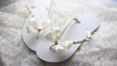 Adorable bridal flip flops for the bride to wear on her wedding day. Ivory Wedding, Wedding Day, Wedding Flip Flops, Womens Flip Flops, Cute Sandals, Bridal Shower Gifts, Bridal Shoes, Bride, Trending Outfits