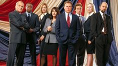 "The cast of ""The West Wing"" in 2003: John Spencer as Chief of Staff Leo McGarry, Dule Hill as aide Charlie Young, Allison Janney as Press Secretary CJ Gregg, Stockard Channing as First Lady Abigail Bartlet, Martin Sheen as President Josiah Bartlet, Brad Whitford as Deputy Chief of Staff Josh Lyman, Janel Moloney as Assistant Donna Moss and Richard Schiff as Communications Director Toby Ziegler. (Photo: NBC)"