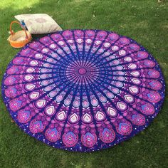 Mandala Round Peacock Style Mat - Available in Assorted Colors - Check Out Today!