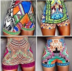 Tribal pattern high waist shorts
