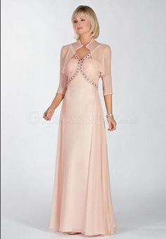 pink V-Neck sleeveless Crystals Dropped Chiffon Mother of the Bride Dresses - Gopromdress.co.uk