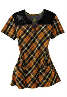 cute for halloween healing hands spider fright print scrub top at scrubsandbeyondcom - Halloween Scrubs Uniforms