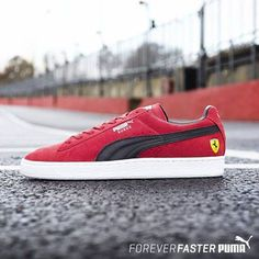 #PUMA's ultimate Icon the Suede, with a Scuderia Ferrari inspired design. 1O Years of Partnership. #DRIVENTOBEFASTER  #ForumCourtyard