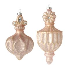 """Raz 7"""" Dusty Pink and Gold Finial Glass Christmas Ornament  3622891"""