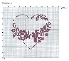 roses hearts coeur point de croix cross stitch. ~»~ like better with floral on one side only ...inspiration