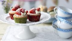 These delicious little strawberry cupcakes have a delicious jam centre once you get past the strawberry and cream topping.