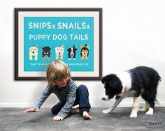 Nursery art print. Boy nursery artwork Puppy dog Thats what little boys are made of Kids wall art baby nursery decor 16X20 print by WallFry