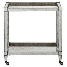 Thalia Regency Silver Art Deco Antique Mirror Bar Cart   Kathy Kuo Home