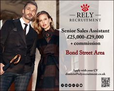 Luxury Retail Senior Sales Assistant Mayfair 2 stores (Bond Street Area) Basic 24k -30k + commission + benefits  Salary dependent on experience.    http://www.relyrecruitment.com/job/25000-29000-basic-plus-commission-plus-benefits-mayfair-42-luxury-retail-senior-sales-assistant-x-2-positions/