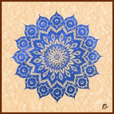 """Okshirahm: Blue Lotus Mandala"" Graphics/Illustration art prints and posters by Peter Barreda - ARTFLAKES.COM"