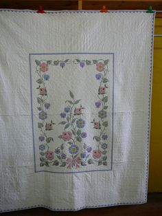 72 x 88 hand cross stitched and hand quilted quilt by KaryLynns, $189.00