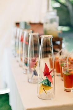 Paper Cranes Bottles Decor Bohemian Origami Guernsey Wedding http://janiceyiphotography.ca/
