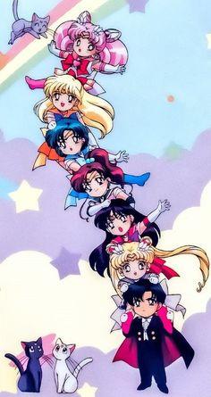 Sailor Moon inspired mobile wallpaper with all the Sailor Scouts and Darien in their chibi version amor boy dark manga mujer fondos de pantalla hot kawaii Sailor Moon Crystal, Sailor Moon Stars, Serena Sailor Moon, Arte Sailor Moon, Sailor Moon Fan Art, Sailor Moon Usagi, Sailor Pluto, Sailor Jupiter, Sailor Venus