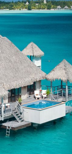 Water bungalow at Bora Bora St Regis Hotel in Bora Bora, French Polynesia