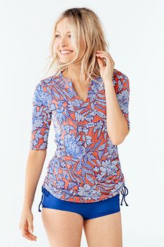 Women's Adjustable Tunic Swim Rash Guard - Kinetic Floral from Lands' End $49