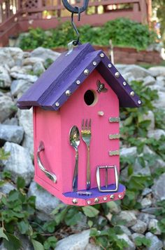 Birdhouse Handmade Home & Living Functional Outdoor Garden Art Decorated Bird…