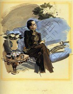 Portrait of Schiaparelli - Francis Marshall, British Vogue (1936)