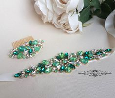 Green bridal belt, Greenery sash, fairy wedding, green sash, luxury bridal sash, green bridal sash, diamante belt, bridal belt, couture belt, diamante bridal sash, wedding belt, sparkle belt, bridal set, green headpiece, sash and comb