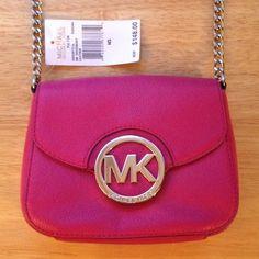 Michael Kors Fuschia Fulton CrossBody Bag Michael Kors Fuschia Fulton CrossBody Bag. Silver hardware. Snap closure. Tan Signature Lining. Michael Kors Bags Crossbody Bags