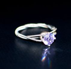 Lavender Guitar String Purity or Engagement Ring, Triple Wrapped, 6mm  Lavender Cubic Zirconium with Sterling Silver Setting