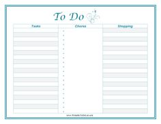 Free to download and print Plan the day's tasks, chores and shopping needs with this printable blue to-do list featuring an elegant design.
