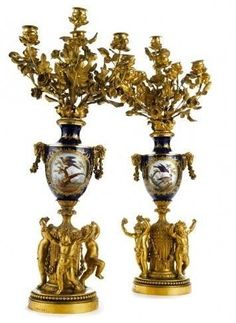 A VERY FINE PAIR OF THOMIRE SEVRES MOUNTED CANDELABRA : Lot 195