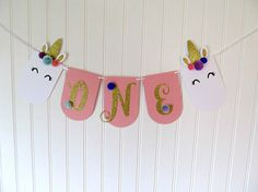 Unicorn First Birthday - Unicorn High Chair Banner - Unicorn Banner - Unicorn Party Decor - Pink and Gold First Birthday - Unicorn Theme 6th Birthday Cakes, Gold First Birthday, Unicorn Birthday Parties, Unicorn Party, Birthday Ideas, Fete Emma, Unicorn Banner, Glitter Letters, Gold Glitter