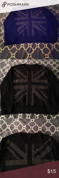 Like new Studded London Flag Sweater L Like new Studded London Flag Sweater L Forever 21 Sweaters