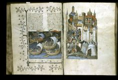 K005865 The Greeks attacking Troy from the Sea, with the Greek and Trojan soldiers equipped as medieval chivalric knights from the 'Histoire Ancienne jusqu'à César', France (Paris), 1st quarter of the 15th century, Stowe MS 54, ff. 82v-83r - See more at: http://britishlibrary.typepad.co.uk/digitisedmanuscripts/2015/02/the-legend-of-troy-in-medieval-manuscripts.html#sthash.8aVLQnJU.dpuf