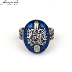 The Vampire Diaries Ring Salvatore Damon Stefan's Punk Rings Vintage Blue Zinc Alloy Ring Fashion Jewelry Accessories For Fans #Affiliate