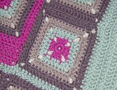 Strawberry, Mint and Chocolate Granny Throw | Enjoy the fresh colors of your favorite flavors on this beautiful granny square afghan.