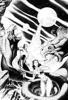 Renaud, Paul - Flash Gordon and Dale Arden Comic Art