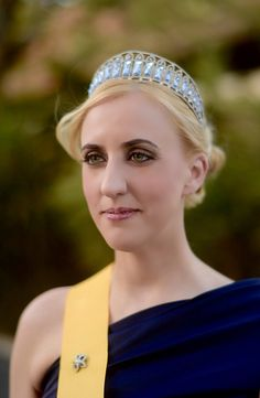 Aquamarine Kokoshnik tiara. Sash of the Royal Order of the Hesperides. Queen Carolyn of Ladonia. Photo by @mattrothphoto