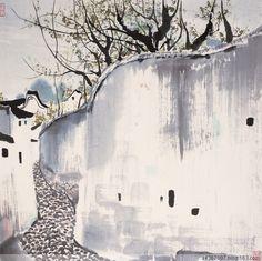吴冠中 Chinese Prints, Chinese Art, Chinese Brush, Chinese Style, Impressionist Landscape, Impressionist Artists, Wu Guanzhong, Chinese Picture, Japan Painting