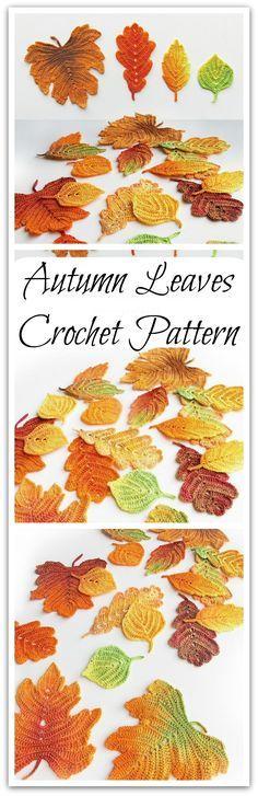 Crochet pattern Autumn leaves. Crochet leaf pattern. Crochet fall leaves Thanksgiving decor. Autumn decorations, leaf appliques. #ad #affiliate