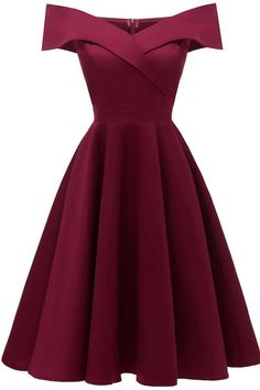 Dark-red Off Shoulder Retro A Line Party Dress