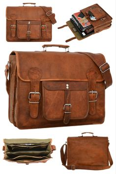 Die Umhängetasche 'Leon' aus Ziegenleder im aktuellen Vintage-Design eignet sich perfekt für Uni und Arbeit und kann auch als Freizeittasche umfunktioniert werden. Gusti Leder - U31