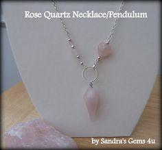 Rose Quartz Pendulum Rose Quartz Necklace Dowsing by Sandrasgems4u, $22.00