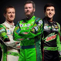 Kasey, Jr, Chase in their Mt Dew firesuits for the 2016 season.