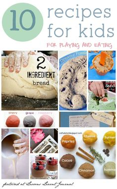 10 fabulous recipes for young children. Recipes for food they can eat and recipes for making things they can play with. Great list to bookmark.