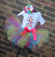 Polka Dot Party Birthday Tutu Outfit Rainbow by TickleMyTutu