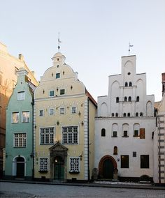 The 'Three Brothers'  At the end of 15th century Riga, Latvia was founded.  Contact with traders from the Netherlands influenced the city's architecture to appear in the Netherlands Renaissance style, uncredited photo.