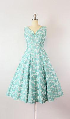 vintage 50s dress / 1950s aqua blue star embroidered dress /